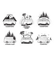 set with camping trailer logo cars on a landscape vector image vector image
