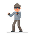 silence finger evil greedily thief cartoon rogue vector image vector image