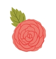 silhuette red rose with leaf vector image