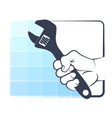 spanner in hand silhouette vector image vector image