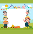template with farmer kids and farm animals vector image vector image