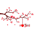 Tree branch with love hearts vector | Price: 1 Credit (USD $1)