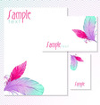 Watercolor card with bird feathers vector image