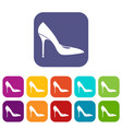 women shoe with high heels icons set vector image vector image