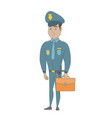 young hispanic policeman holding a briefcase vector image vector image