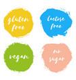 set of vegan gluten lactose free no sugar badges vector image
