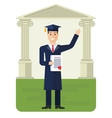student received diploma vector image