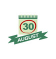 30 august calendar with ribbon vector image vector image