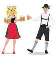a man and a woman in oktoberfest suits isolated vector image vector image