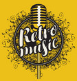 banner with microphone and inscription retro music vector image