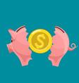 broken piggy bank with golden dollar currency coin vector image