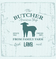 butcher american shop label design with lamb farm vector image vector image