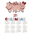 calendar 2019 with cheerful pink pigs vector image vector image