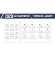 calendar grid for 2020 year on white background vector image vector image