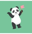 Cute Panda Character With Pink Flag vector image