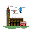 doodle london clock tower with air balloon and bus vector image vector image
