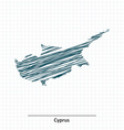 Doodle sketch of Cyprus map vector image