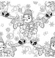 entangle doodle hand drawn christmas snowman ski vector image