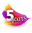 five years greeting card with colorful brush vector image
