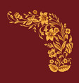 floral pattern gold painting flowers on burgundy vector image vector image