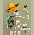 fun poster with skeleton and bird for day the vector image vector image