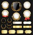 golden badge labels and laurel retro vintage vector image vector image