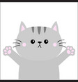 gray cat ready for a hugging blush cheeks open vector image vector image