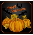 Greeting halloween card with watercolor pumpkins vector image