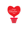 heart shaped air balloon valentine day vector image vector image