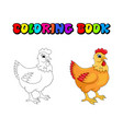 hen cartoon character design isolated on white vector image