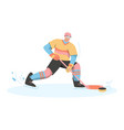 hockey player in uniform holding stick vector image vector image