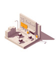isometric advertising on supermarket vector image vector image