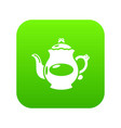 kettle porcelain icon green vector image vector image