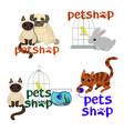 logo design template for pet shops badges vector image vector image