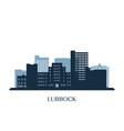 lubbock skyline monochrome silhouette vector image vector image