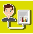 man with graph isolated icon design vector image vector image