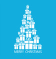 merry christmas tree with gift boxes on blue vector image vector image