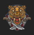 military emblem tiger with dagger vector image