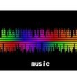 music colorful equaliser bar in black background vector image