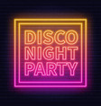 neon lettering disco night party on brick wall vector image