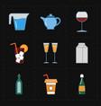 nine modern flat bar icons vector image