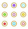 optics zoom icons set cartoon style vector image vector image