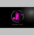 pink jc brush stroke letter logo design vector image vector image