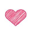 pink sketch heart symbol vector image vector image