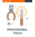 professional tools icon screwdriver gears vector image vector image
