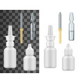 realistic nasal spray bottle dropper and ampoule vector image
