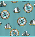 seamless pattern with old nautical map vector image
