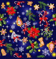 seamless pattern with traditional christmas and vector image