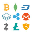 set of cryptocurrency icons simple design in vector image vector image