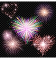 set of isolated fireworks on a transparent vector image